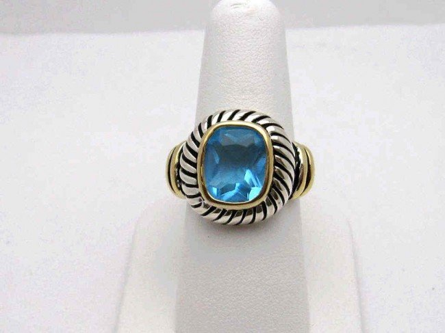 15: Sterling 14ky topaz fashion ring