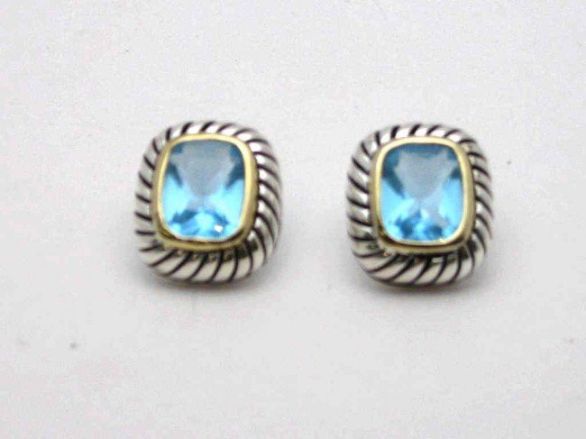 20: Sterling 14kyg blue topaz earrings