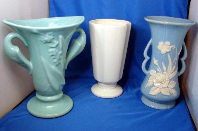 "14: Vintage Weller Cameo Vase 10"" tall & 3 Unmarked Vs"