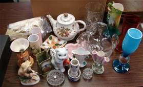 59 Lot of Porcelain Art glass crystal etc