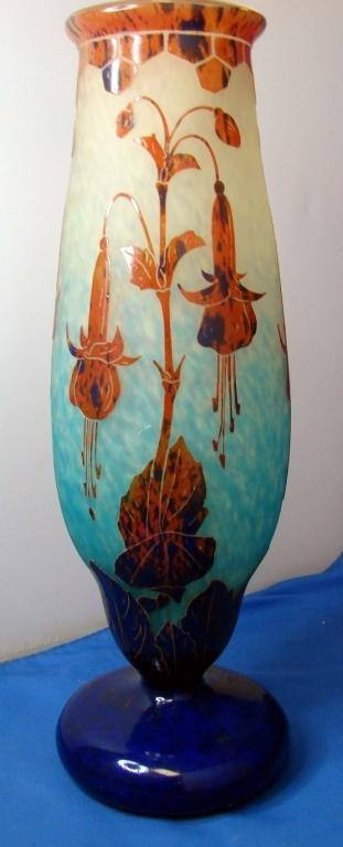 159: Le Verre Francais Cameo Glass Vase Fuchsia