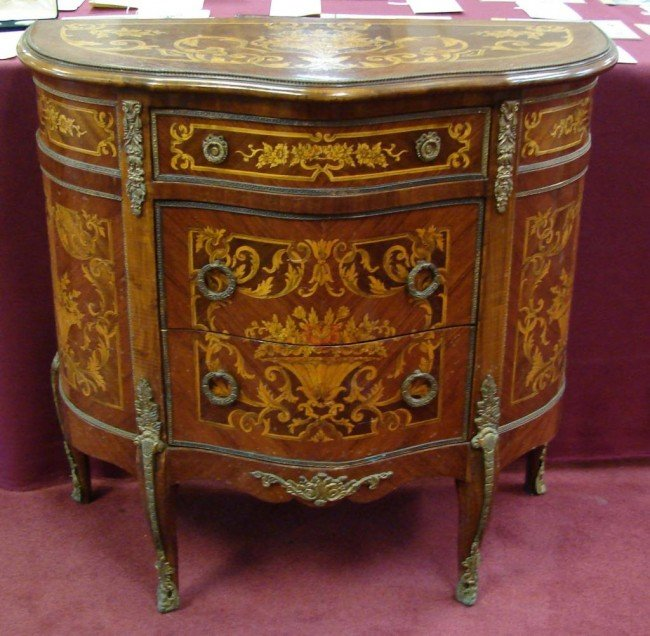 151J: French Marquetry Inlaid Demilune Console