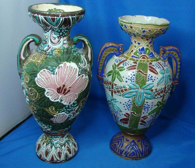 2: Pair Glazed Ironstone vases w/applied enamel