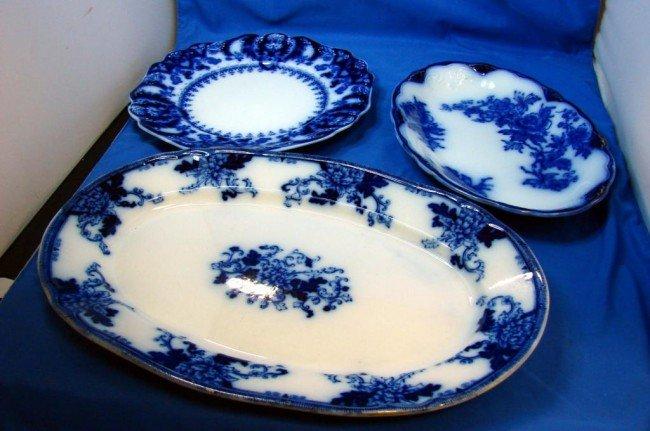 3: 3 Pieces of Vintage Flow Blue: Platters & plate