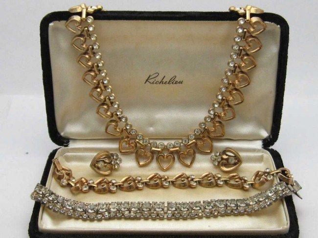 10: Suite of Trifari jewelry heart design
