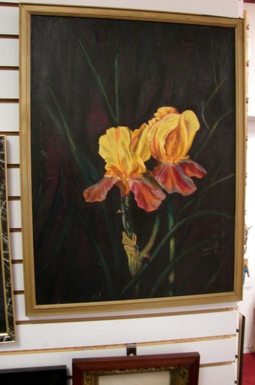 11: Vintage Framed Original Oil Painting of an Iris