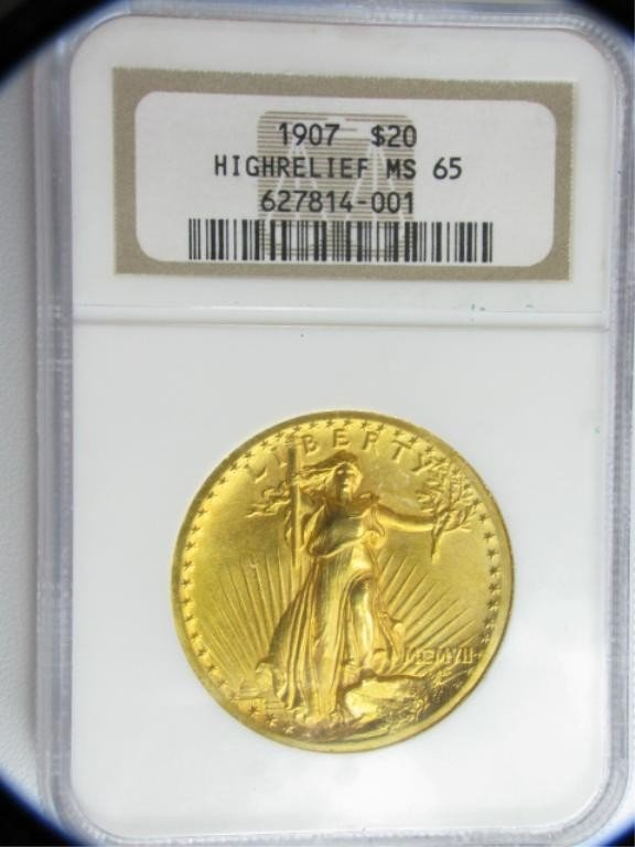 3C: 1907 $20 St.Gaudens NGC MS65 High Relief