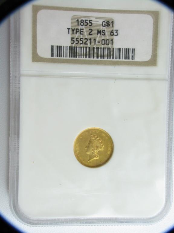 10C: 1855 $1 Indian Princess NGC MS63 Type 2