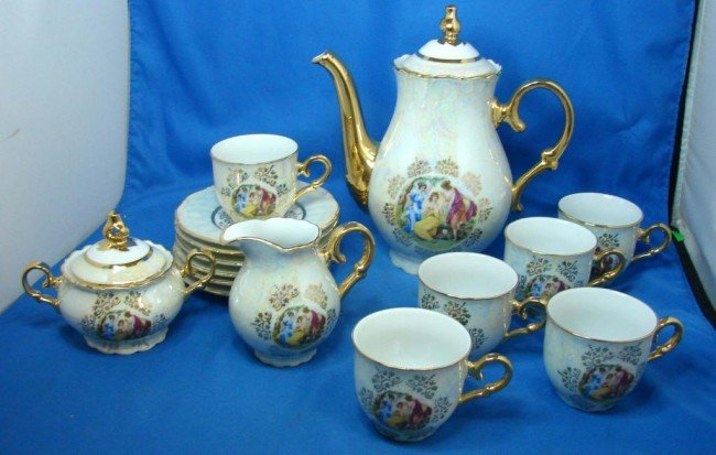7: Transferware Porcelain Demi-tasse coffee set
