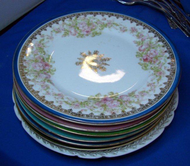 1: 7 Ornate Cake Plates marked Austria & 4 teacups