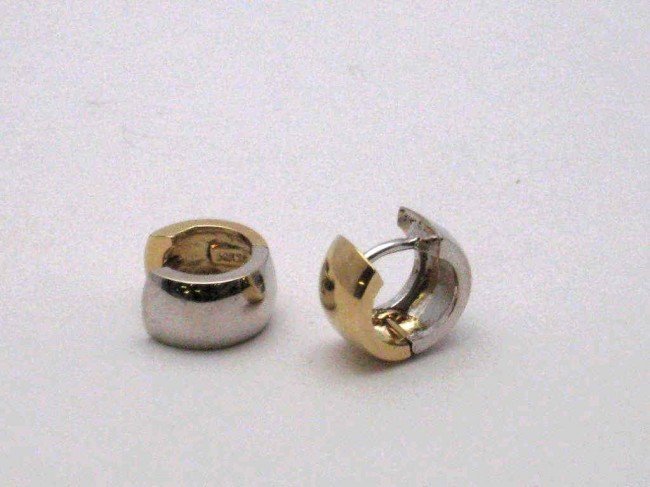 15: 2tone huggie earrings in 14k