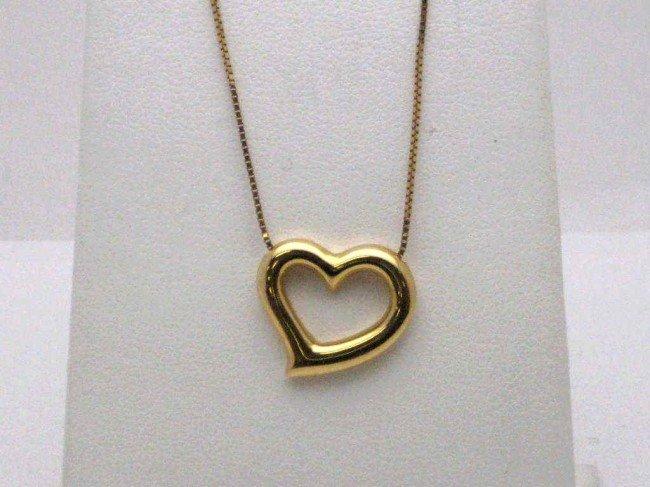 "2A: 18kyg heart pendant 16"" chain"