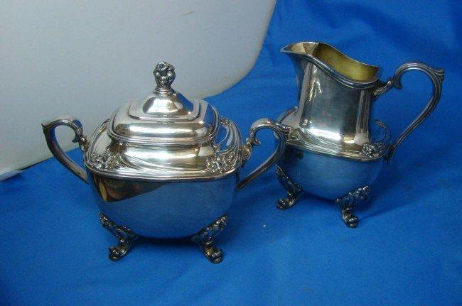 10A: 1847 Rogers Bros. silver Daffodil Sugar & Creamer