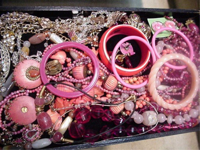 """7A: Lot of costume jewelry """" in the pink"""""""