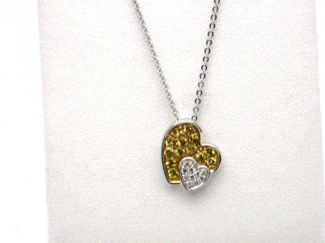 9A: 18kwg Sapphire & Diamond.& dia. heart necklace