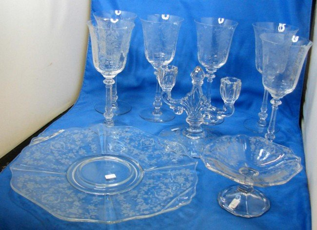 13: Heisey Orchid 5 goblets, cake plate, candelabra