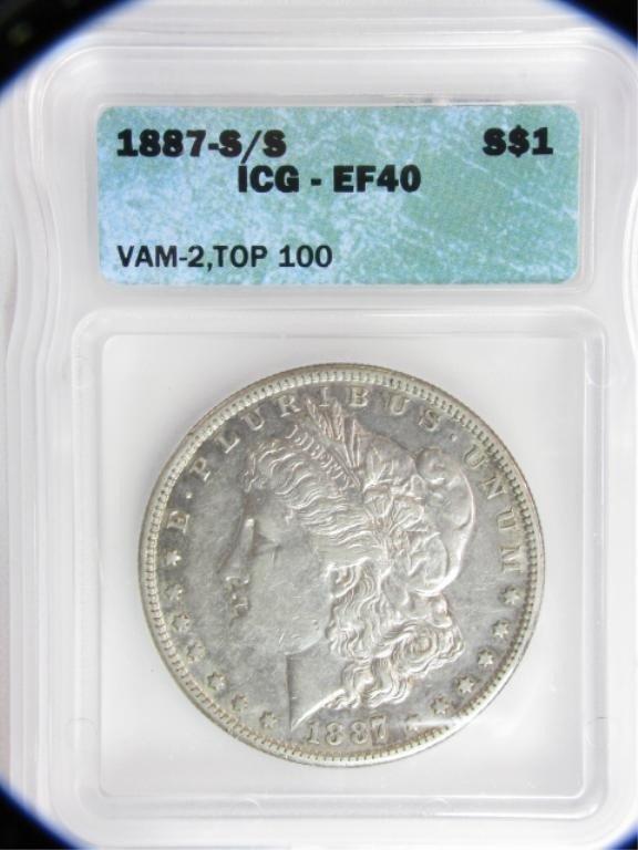 756: 1887-S/S $1 Morgan Silver Dollar ICG-EF40
