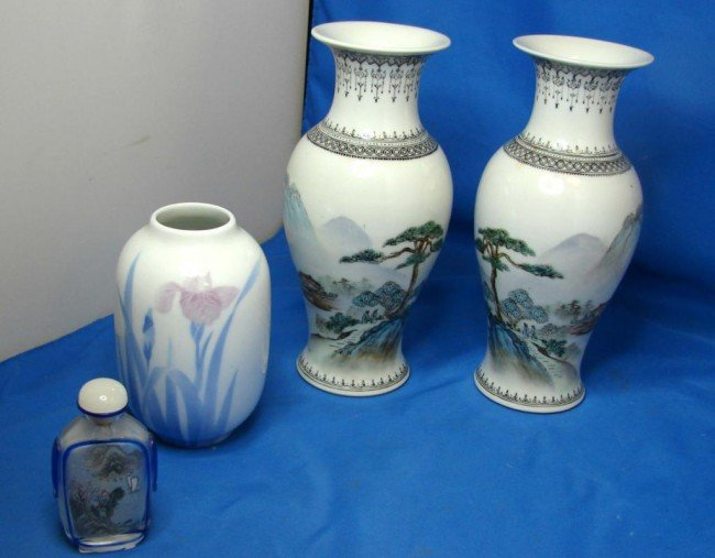 8: Pair Chinese Vases, hand painted snuff bottle, ++