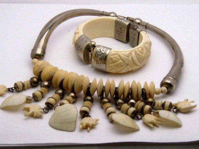 12: Silver & ivory necklace & bracelet