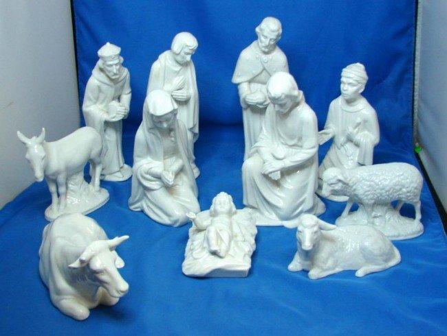 13: Dresden 10 pc. White Porcelain Nativity Set