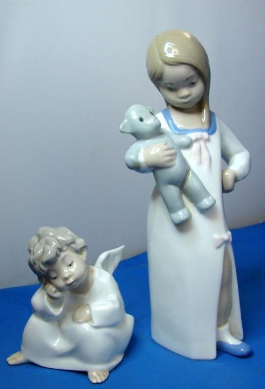 17: Lladro Angel & Nao Little Girl with Teddy Bear