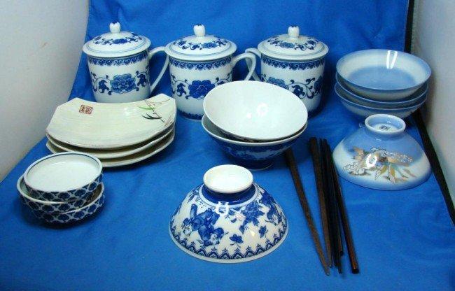 5: Lot of Japanese Serving Bowls & Chop Sticks