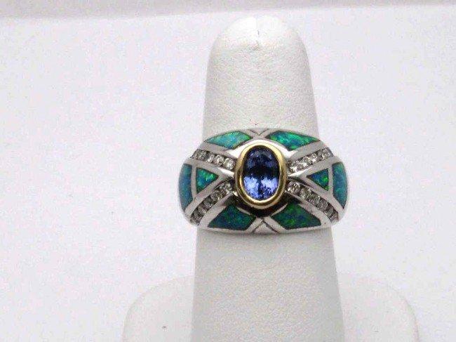 17B: 14kwg tanzanite & diamond ring .92ct
