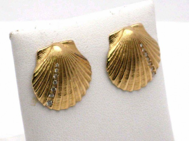 5: 14kyg scallop shell earrings with dia