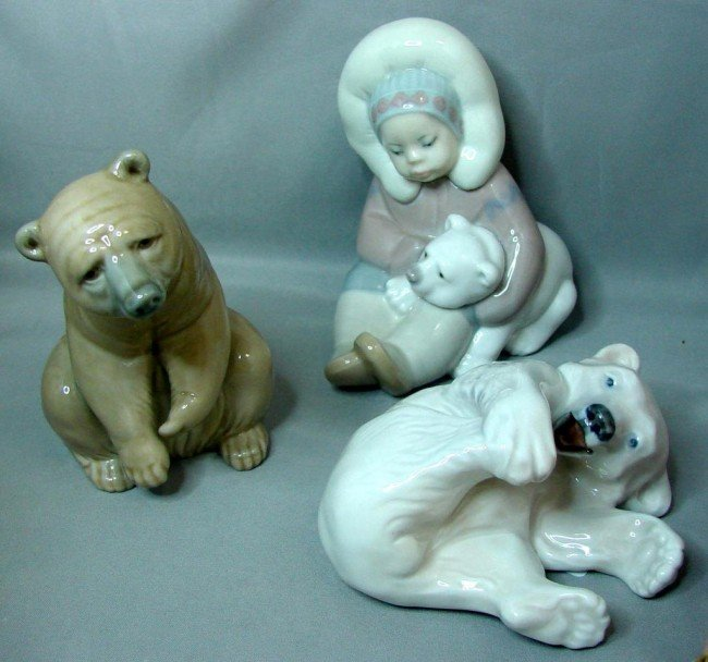 9: Lladro Eskimo w/Bear, Happy Bear, & Royal C Bear