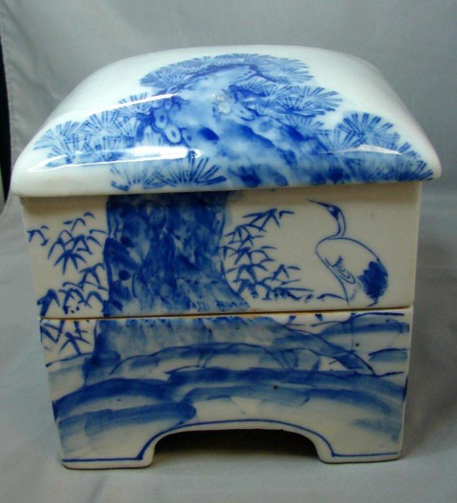 13: Chinese Blue & White Porcelain 2 Tier Lunch Box