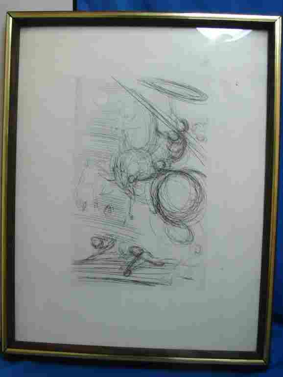 55: Framed Etching of Don Quixote by Salvador Dali