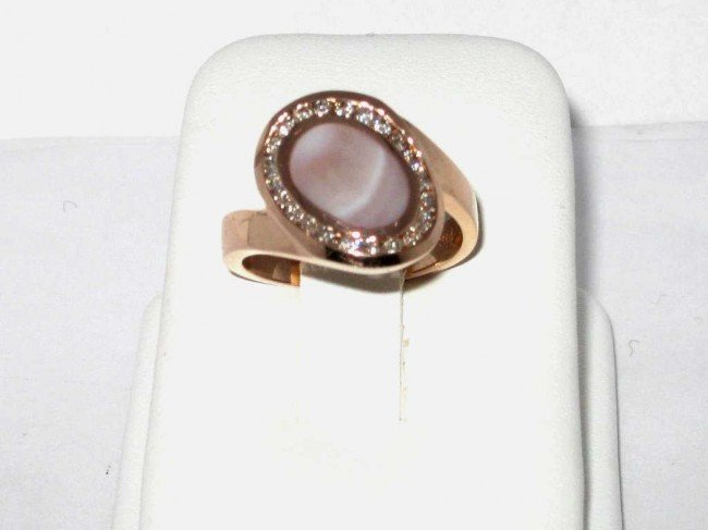 15A: 14k rose gold  Mother of Pearl ring