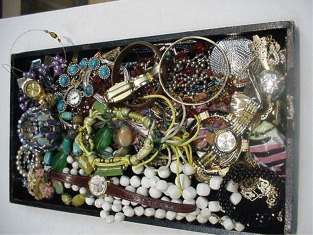 1: Lot of costume jewelry -pins, bracelets, rings, watc