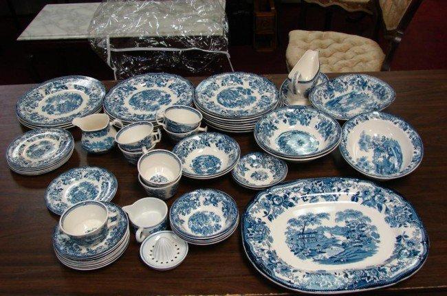 185: 53 pcs. Royal Staffordshire Tonquin China Blue