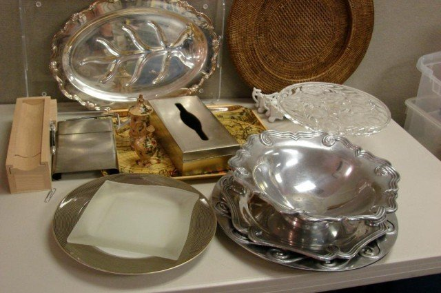 10A: Huge Box Lot: Serving trays, cake plate, etc.