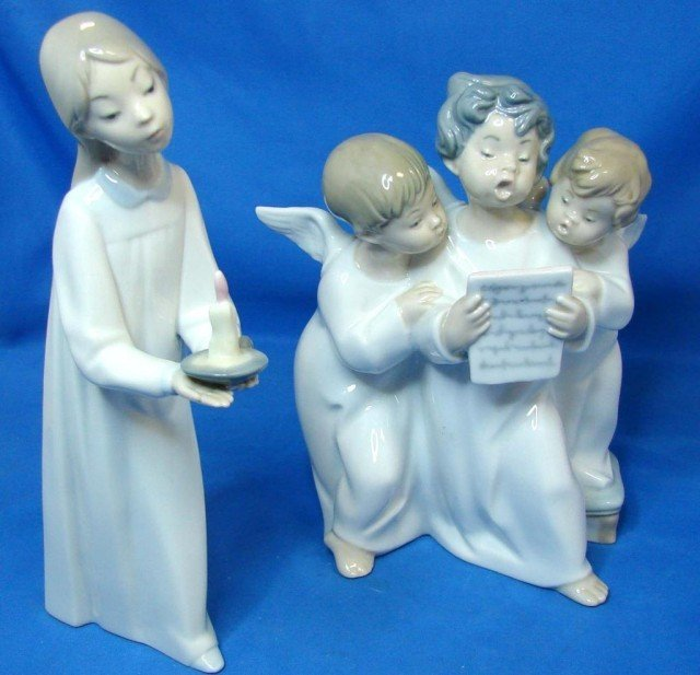 3: Lladro Girl with Candle & Angels Group
