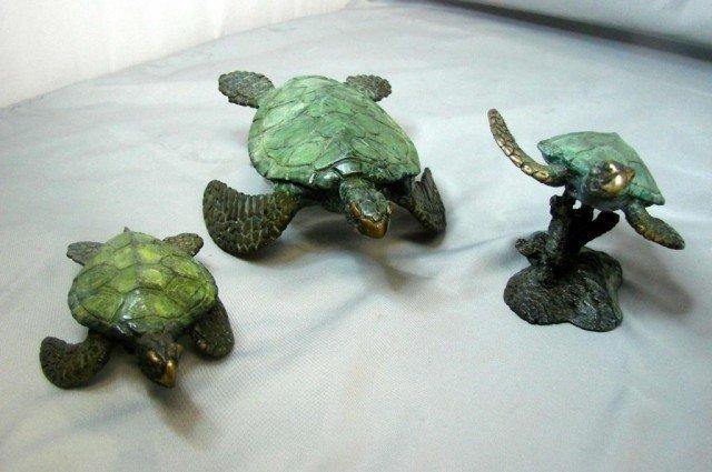14: 3 Bronze Turtles - Marine Life Artist Jim Crawford
