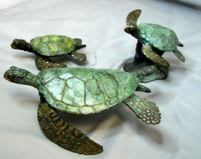 14: 3 Bronze Turtles - Marine Life Artist Jim Crawford - 2