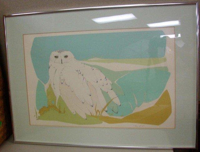 22: Framed under Glass Owl Signed Print Peter Parnall