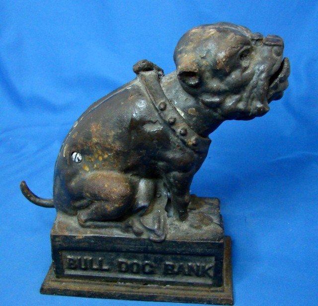 49: Antique Cast Iron Bull Dog Bank