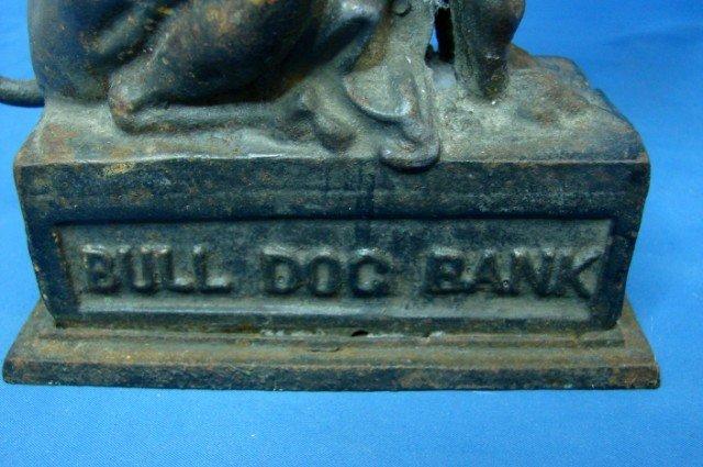 49: Antique Cast Iron Bull Dog Bank - 3