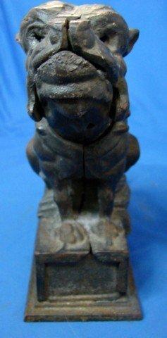 49: Antique Cast Iron Bull Dog Bank - 4