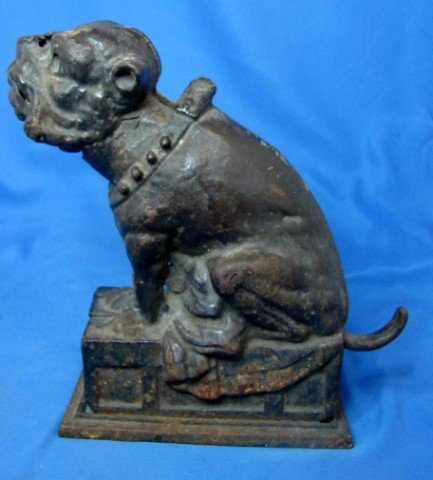49: Antique Cast Iron Bull Dog Bank - 5