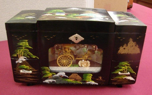 Vintage Chinese Black Lacquer Jewelry Music Box