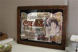 175: Framed Delicious Coca Cola Mirror - Vintage Look