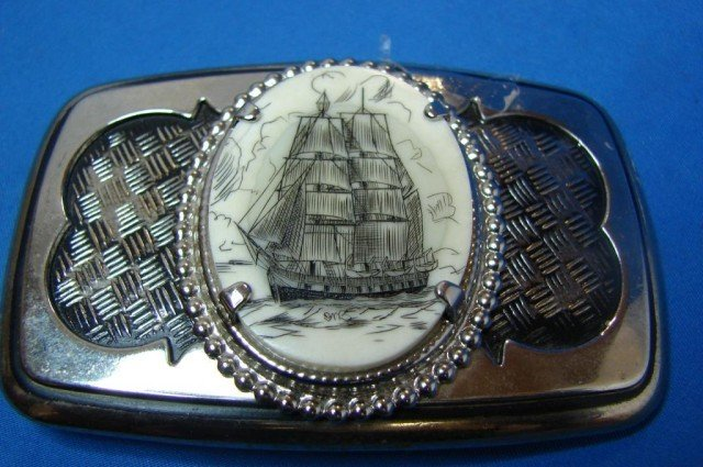 15: Whale Bone Scrimshaw Belt Buckle
