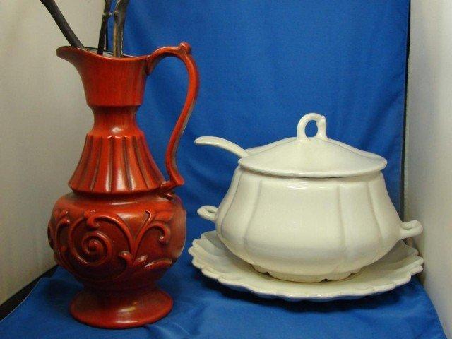 42: Red Haeger Vase & White Pottery Soup Tureen