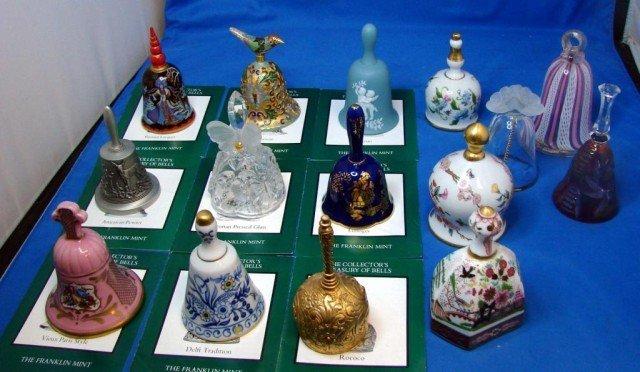 50: 12 Franklin Mint Bells +3 Murano & Crystal Bells