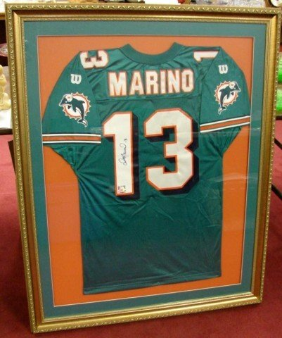 competitive price 4a30d 84fd8 164: Framed under glass Signed Dan Marino Jersey