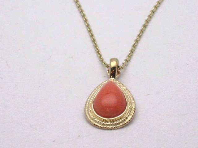 8A: 14kyg pink coral necklace